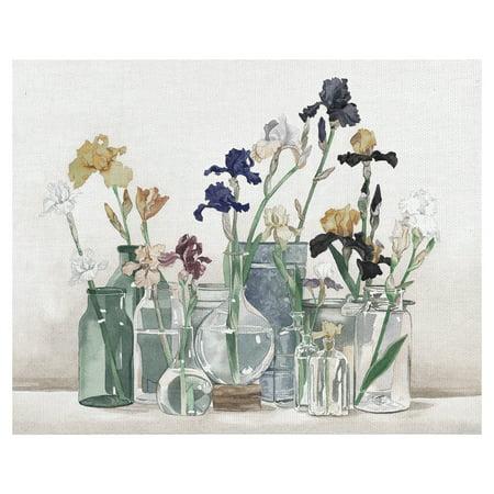 Masterpiece Art Gallery Irises In Vases Ivory By Lynnea Washburn Canvas Art Print 22