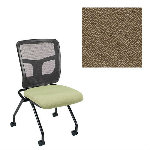 Office Master Yes Collection YS71N Ergonomic Nesting Chair - No Armrests - Black Mesh Back - Grade 1 Fabric - Spice Nutmeg Brown 1163 PLUS Free Ergonomics eBook