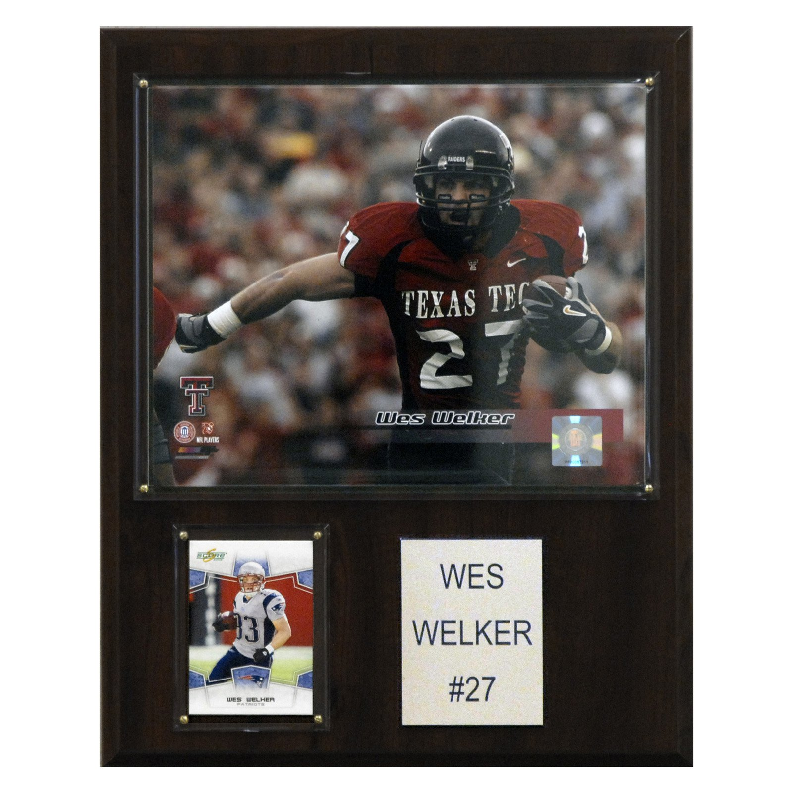 C&I Collectables NCAA Football 12x15 Wes Welker Texas Tech Red Raiders Player Plaque