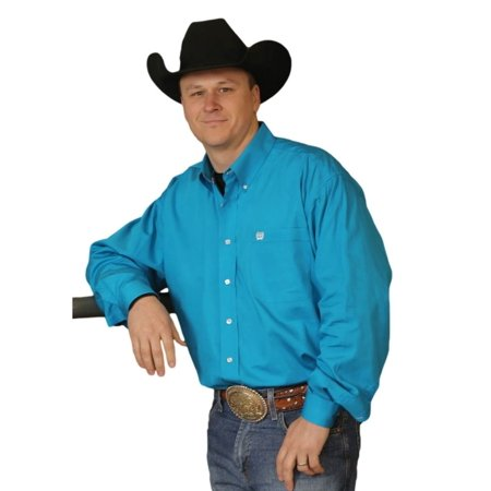 Cinch western shirt mens l s button down solid teal for Mens teal button down shirt