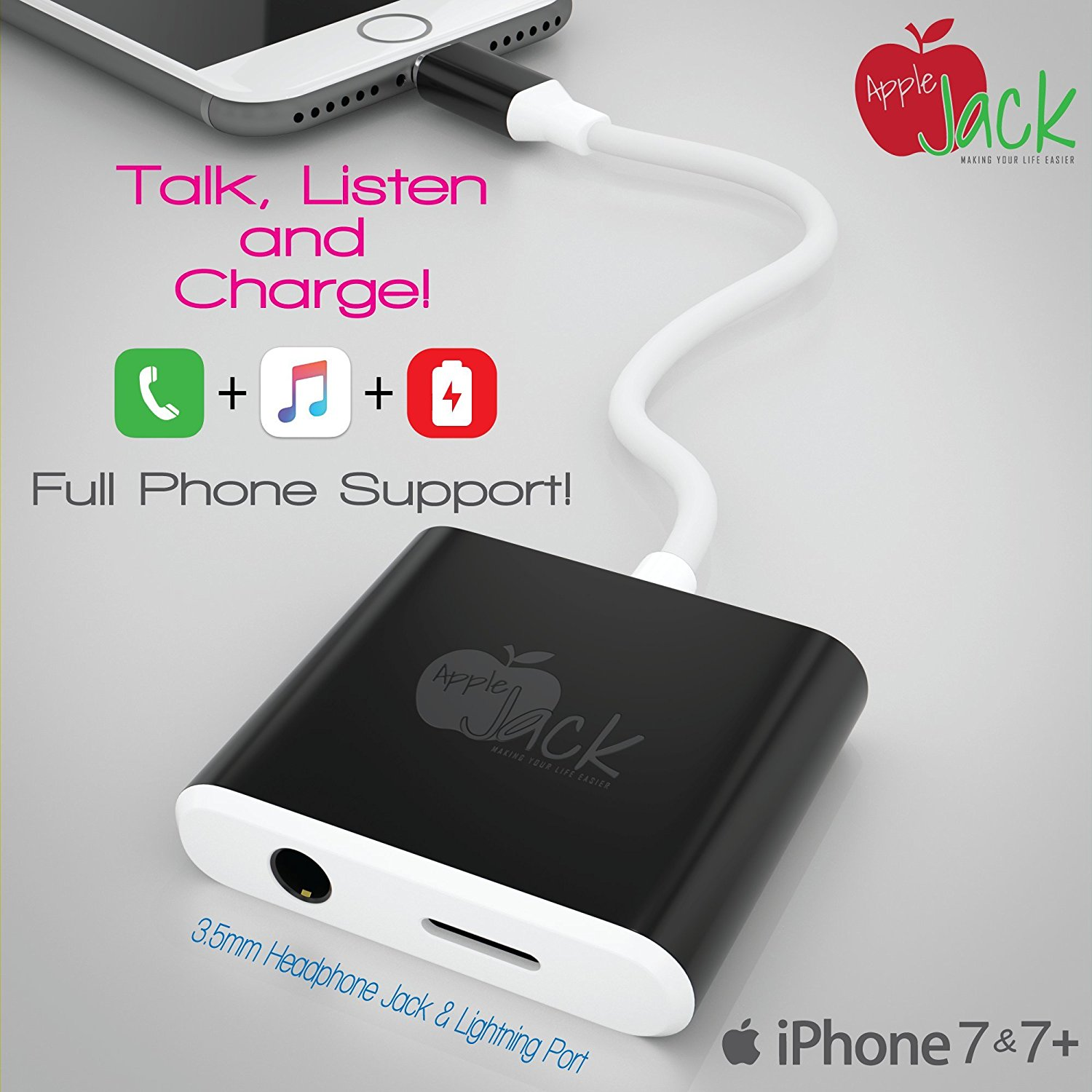 Iphone 7 Charger Headphone Splitter With Phone Support Lightning Adapter Black & Iphone 7 Charger Headphone Splitter With Phone Support Lightning ...