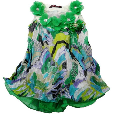 Wenchoice Little Girls Green Colorful Crinkling Chiffon Swing -