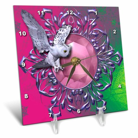 3dRose White Owl pretty coral gem and gradient green and pinks, Desk Clock, 6 by 6-inch