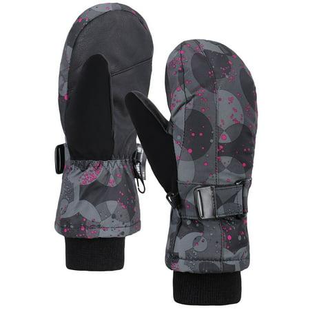 Girls Kids Thinsulate Lined Waterproof Sk Mittens Winter Gloves,Pink Dot