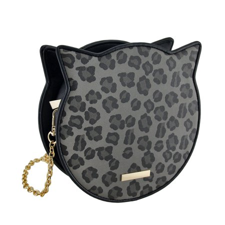 Leopard Print Cat Shaped Handbag w/Removable Shoulder Strap