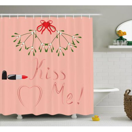 Kiss Me Shower Curtain Christmas Themed Mistletoe Motif With Lipstick Quote Romantic Design Fabric