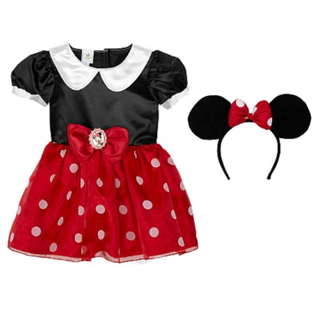 Disney Infant Toddler Girls Minnie Mouse Costume Red Baby Dress Headband - Red Toddler Minnie Mouse Costume