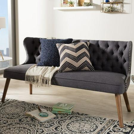 Oak Upholstered Loveseat - Wholesale Interiors Santo Wood Upholstered Loveseat