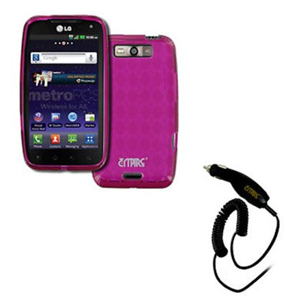 - EMPIRE LG Connect 4G MS840 Poly Skin Case Cover (Hot Pink Diamond Pattern) + Car Charger [EMPIRE Packaging]