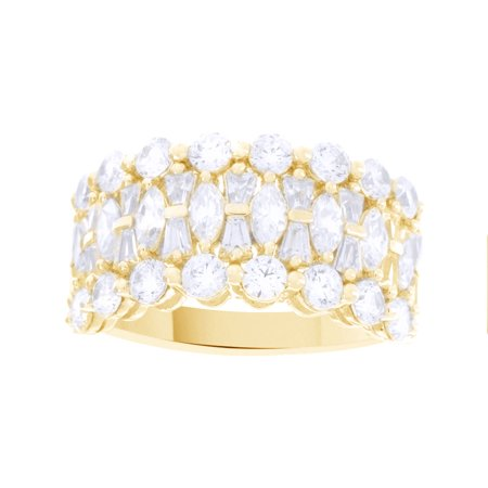 White Cubic Zirconia Epiphany Clad Diamonique Multi-stone Ring In 14k Yellow Gold Over Sterling Silver