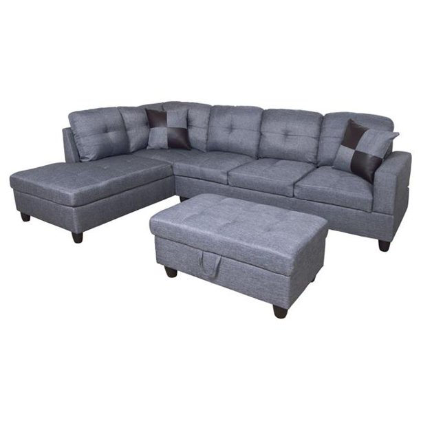 All You Can Purchase Furniture F128A Checked L Shape Sectional