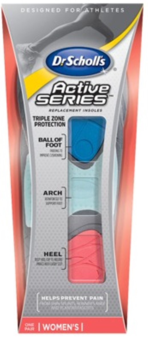 Dr. Scholl's Active Series Replacement Insoles Women's 8 1 2-11 1 Pair (Pack of 4) by