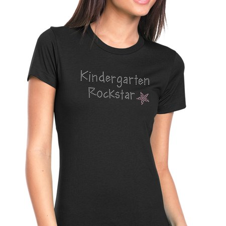 Womens T-Shirt Rhinestone Bling Black Tee Kindergarten Rock Star Pink Crew Neck Small
