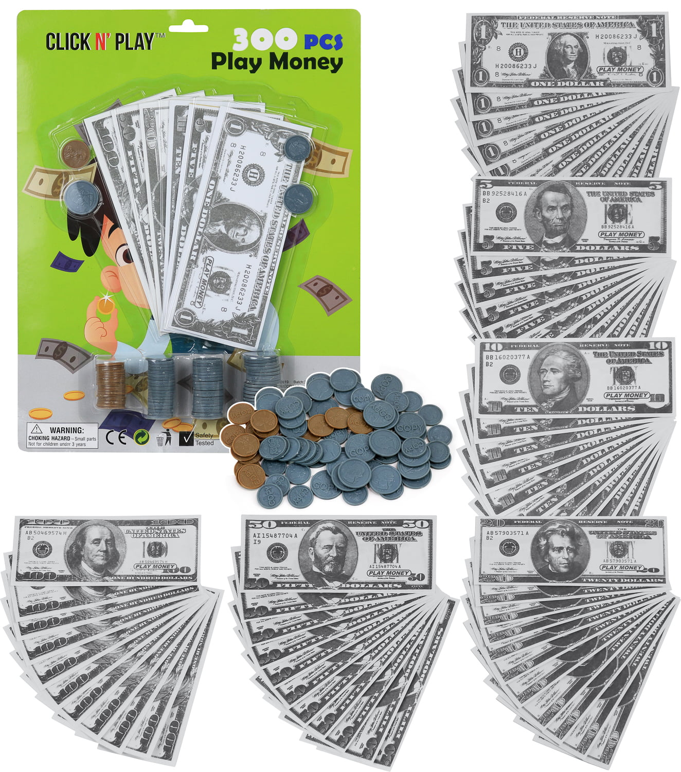 Click N' Play Pretend Play Money for Kids Realistic Bills and Coins Counting Math Currency Set of 300 Pieces.
