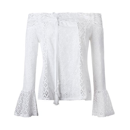 EFINNY Sexy Women White Lace Off Shoulder Slash Neck Flare Sleeve Hollow Out Shirts (Halloween Slashed Neck)
