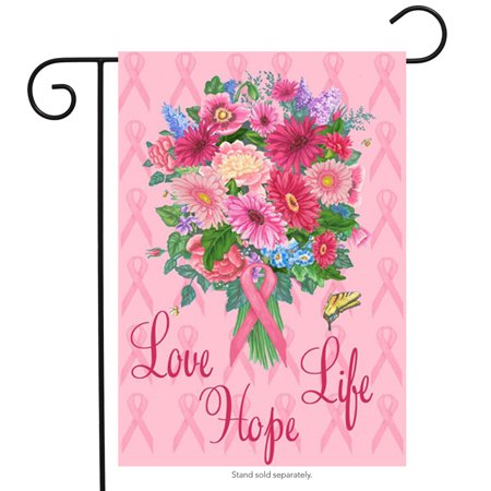 Love Hope Life Breast Cancer Garden Flag Awareness Believe Fight 12