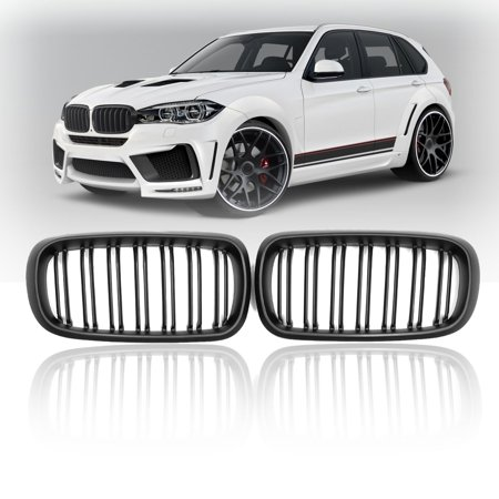 Pair Matte Black Front Kidney Grill Grille For BMW F15/F16 X5 X6 2014-2017 2018 51712334708(L), 51712334710(R) (2018 Bmw X5 Grill)