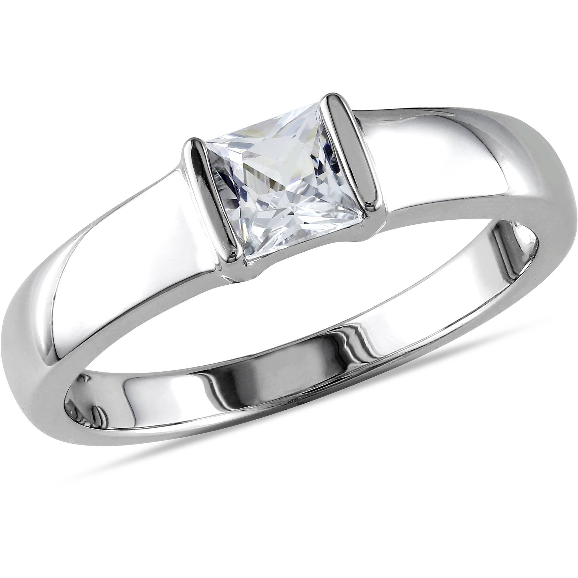 Miabella Men's 3/4 Carat T.G.W. Created White Sapphire Sterling Silver Wedding Band