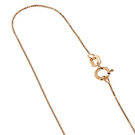 10K Rose Solid Gold 0.5mm wide Shiny Box Chain 18 Necklace with Spring Ring Clasp