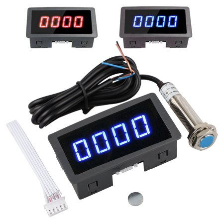 EEEKit LED 4 Digital Tachometer RPM Gauge Speed Meter Tester 10-9999 RPM with Hall Proximity Sensor Switch