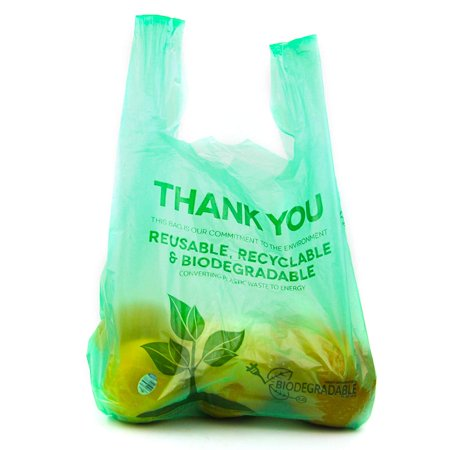 [100 Packs] 1/6 Size Biodegradable Reusable Plastic T-Shirt Bag Eco Friendly Compostable Grocery Shopping Thank You Recyclable Trash basket