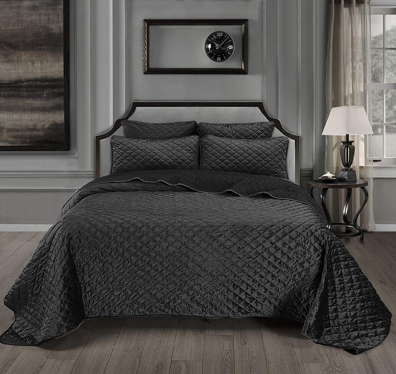 Chezmoi Collection Nina 3-Piece Modern Diamond Pattern Solid Velvet Quilt Set