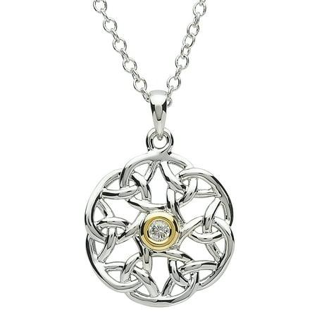 Shanore Women's Platinum &18K Gold Plated Celtic Round Pendant Irish Necklace - 22mm Diameter 18k Platinum Necklace