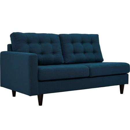 Modern Contemporary Urban Design Living Lounge Room Left-Facing Loveseat Sofa, Navy Blue, Fabric
