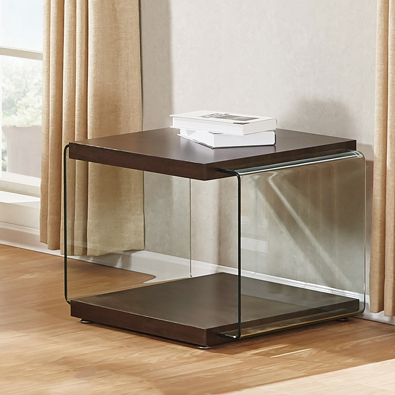 Walnut Color End Table With Clear Side Glass Supports CT114   Walmart.com
