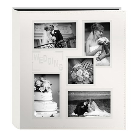 """Pioneer Collage Frame Embossed """"Wedding"""" Sewn Leatherette Cover Photo Album, Ivory, Sewn leatherette collage frame cover By Pioneer Photo Albums"""