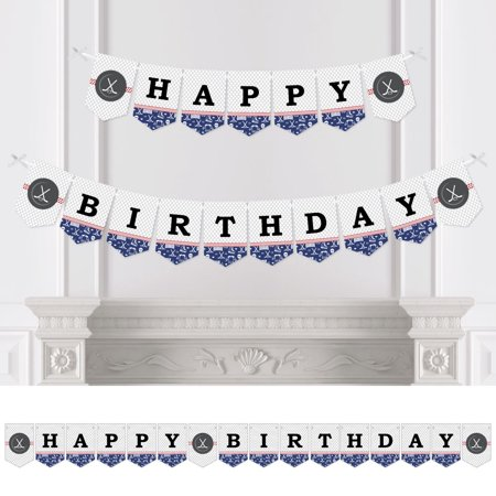 Shoots & Scores! - Hockey - Birthday Party Bunting Banner - Sports Party Decorations - Happy Birthday