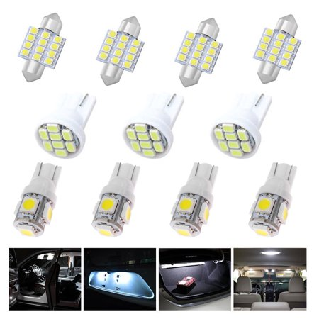 EEEKit 11 PCS White Auto T10 & 31mm LED Lights Interior Bulb Package Kit for Map Dome License Plate Side Indicator Parking -