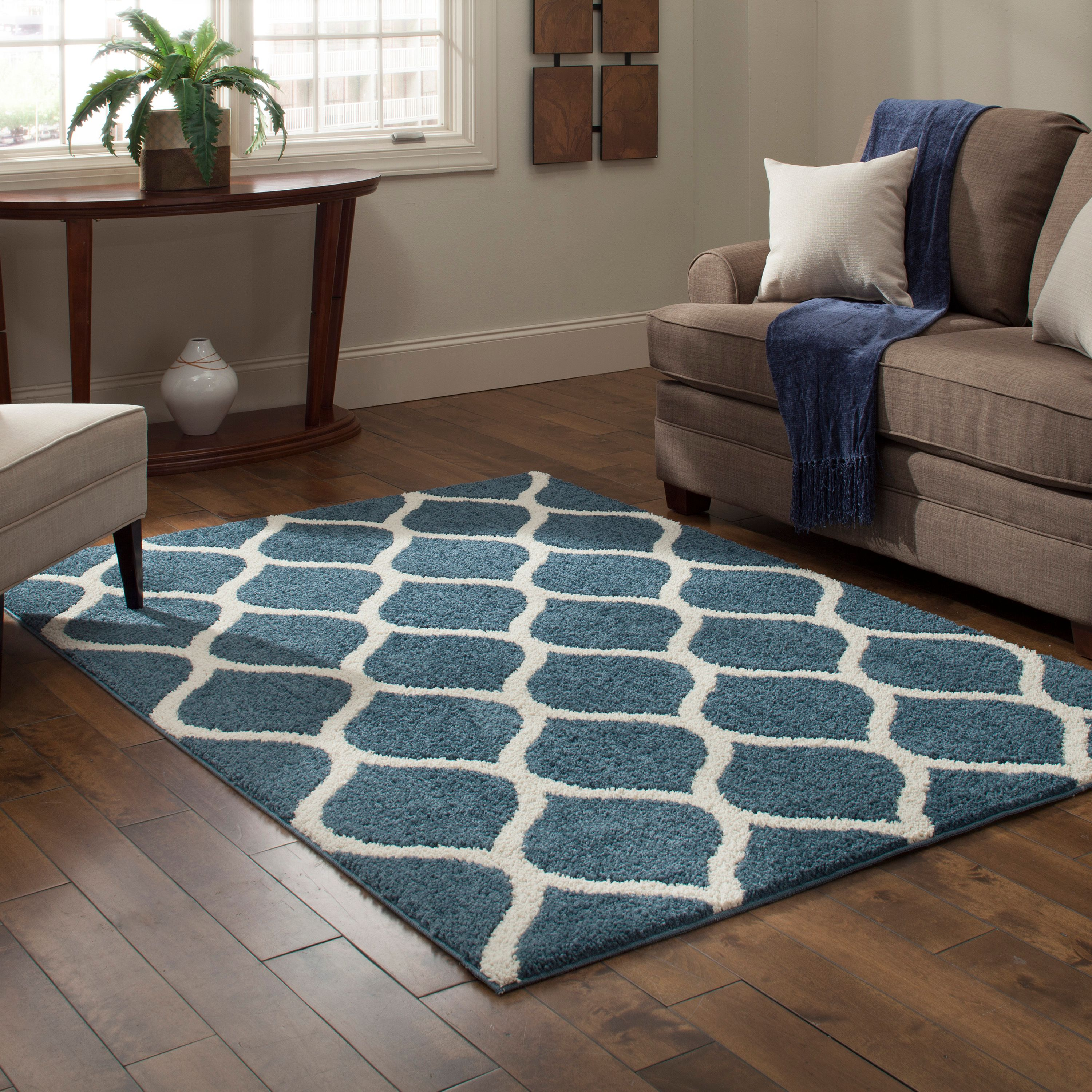 Mainstays Ogee 2-Color Shag Area Rug, Multiple Colors and Sizes