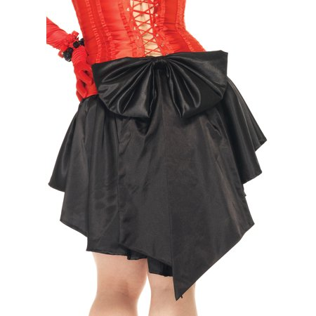 Women's Plus Size Satin Burlesque Skirt With Train And Oversized Back Bow, Black, Plus (Bow Back Skirt)