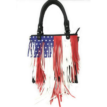American West Leather Handbag (Texas West American Pride National Flag Leather Fringe Women's Handbag in 2 Colors)