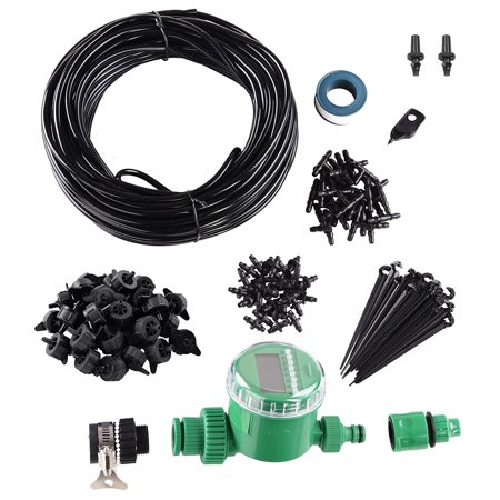 Yescom 82 ft DIY Micro Drip Irrigation System Kit with Timer Dripper Automatic Watering 1/4