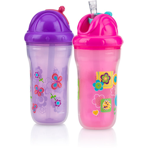 Nuby 2-Pack 9-oz Insulated Flip-It Cup, Girl, BPA-Free