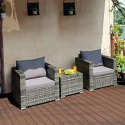 Costway 3 PCS Patio Rattan Furniture Bistro Set Cushioned Sofa Chair Glass Table Garden