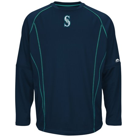 Seattle Mariners Majestic MLB Authentic On-Field Crew Pullover Sweatshirt by