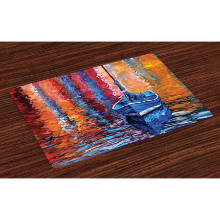 Country Placemats Set of 4 Pastel Color Paint of Fishing Sail Boat in the Sea Dark Fairy Image Dramatic Art Work, Washable Fabric Place Mats for Dining Room Kitchen Table Decor,Multi, by