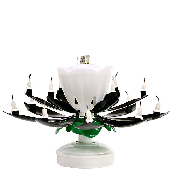 1 Pc Musical Flower Birthday Candles Black