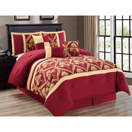 11 Piece Perris Burgundy Gold Bed In A Bag W 500tc Cotton