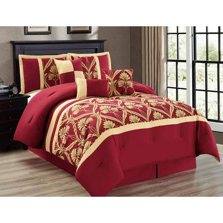 7-Piece Perris Burgundy/Gold Comforter Set Cal King ...