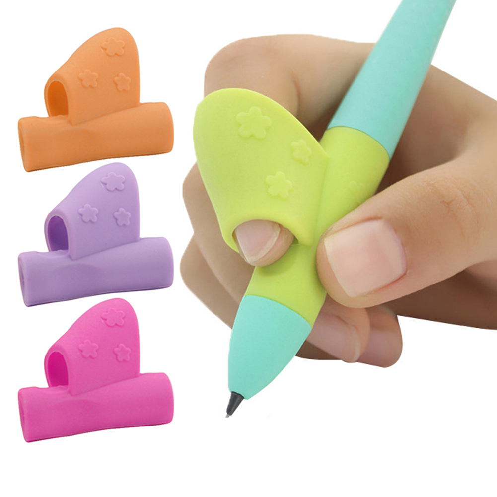 Girl12Queen 3Pcs Silicone Kids Pencil Pen Grips Holder Correcting Writing Posture Aid Tools