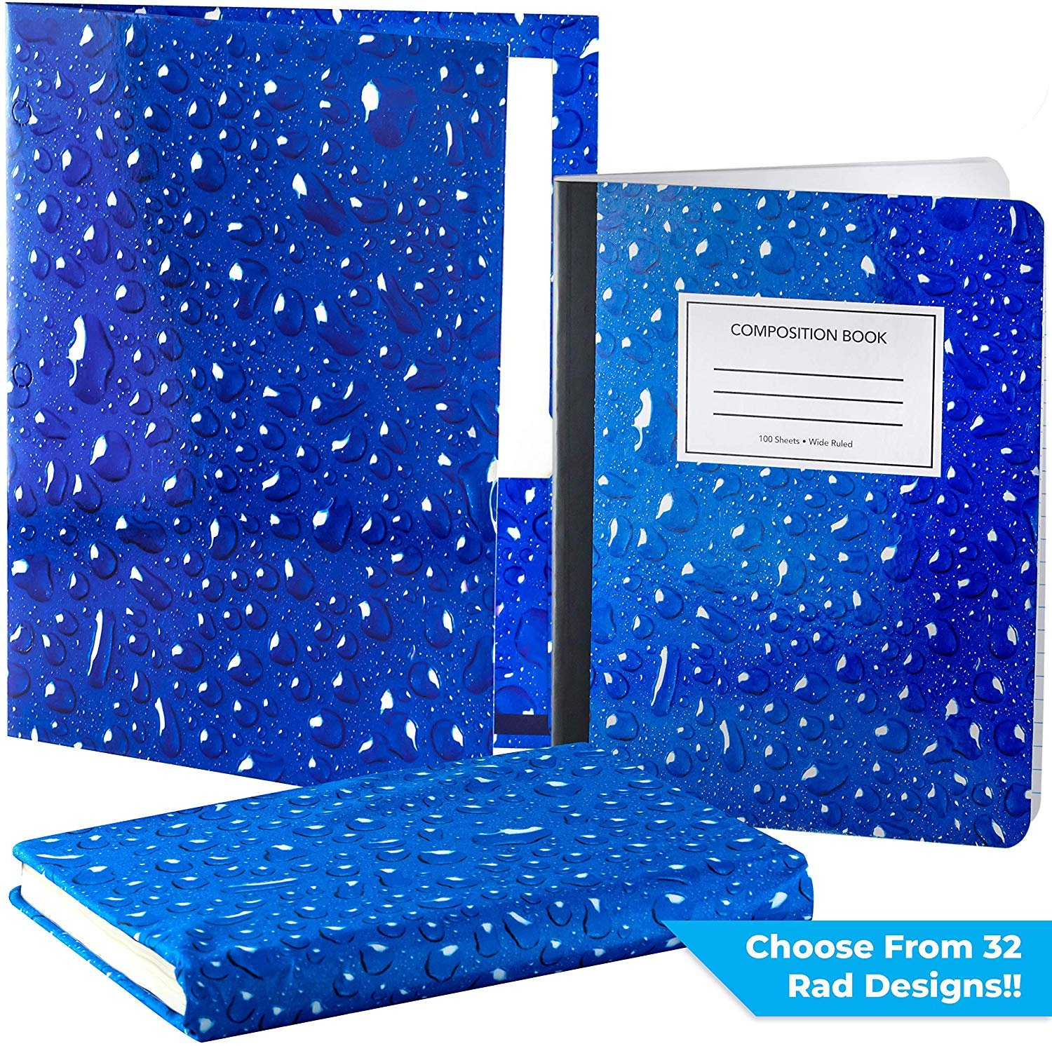 Folder and Composition Notebook Pack Matching Book Cover Our Set Of Stretchable Textbook Protector with a Durable Portfolio and Note Pad Is An Essential Supply to Keep Students Organized In School