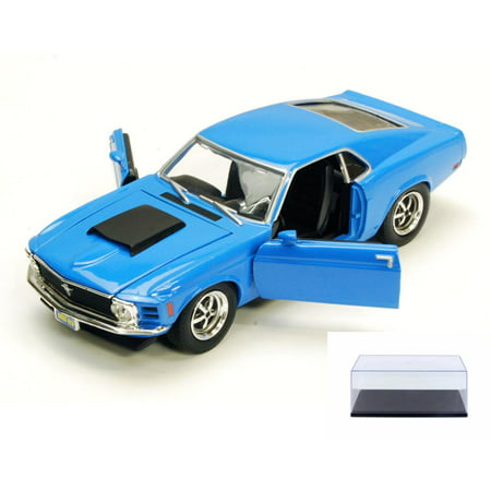 Diecast Car & Display Case Package - 1970 Ford Mustang Boss 429, Blue - Motormax 73303 - 1/24 scale Diecast Model Toy Car w/Display Case 18 1970 Ford Mustang Boss