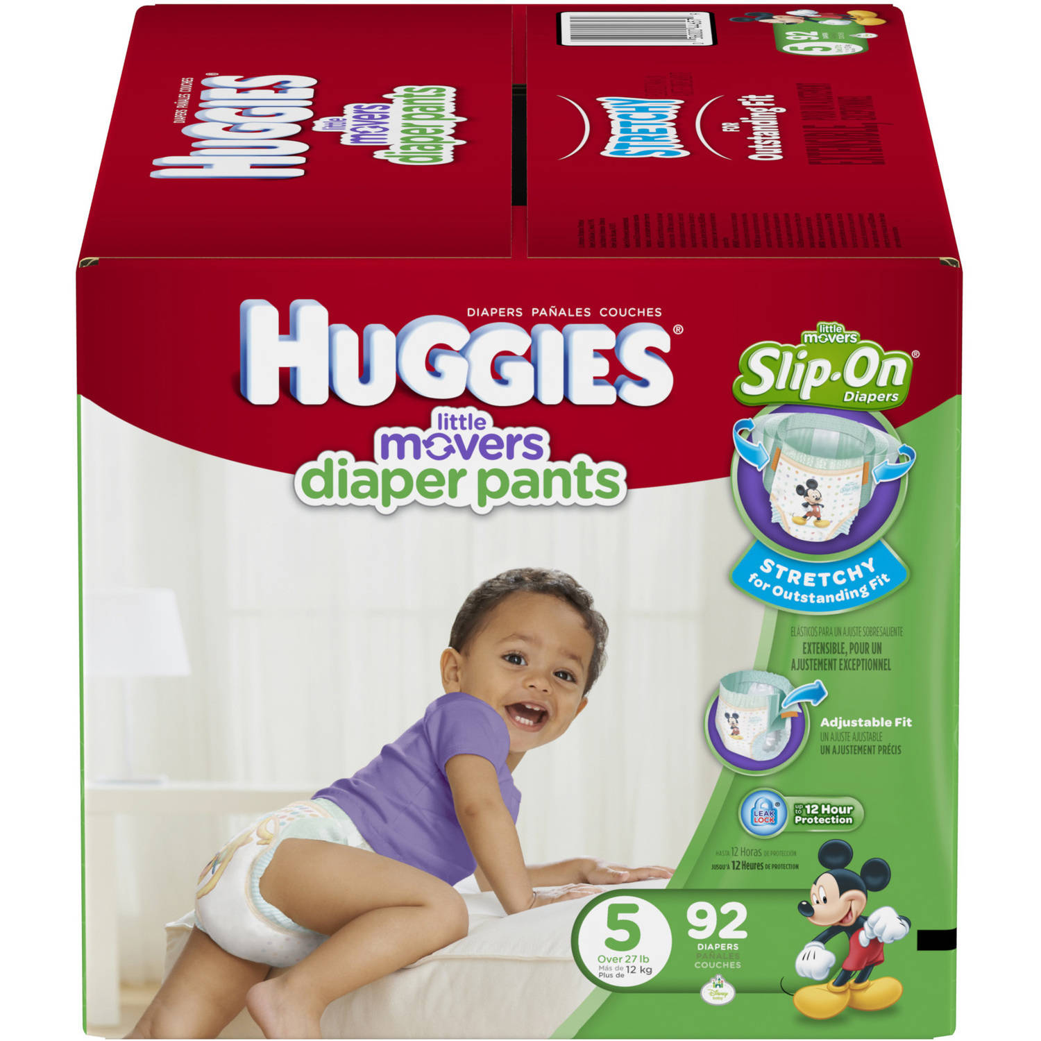HUGGIES Little Movers Slip-On Diaper Pants, Size 5, 92 Diapers ...
