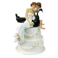 Joyfeel Clearance Resin Bride And Groom Figurine Romantic Cake Topper Resin Craft Wedding Decoration
