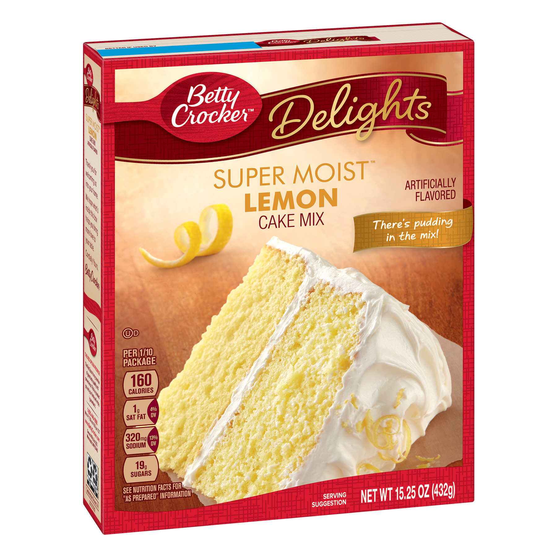 (12 Pack) Betty Crocker Baking Mix, Super Moist Cake Mix, Lemon, 15.25 Oz Box