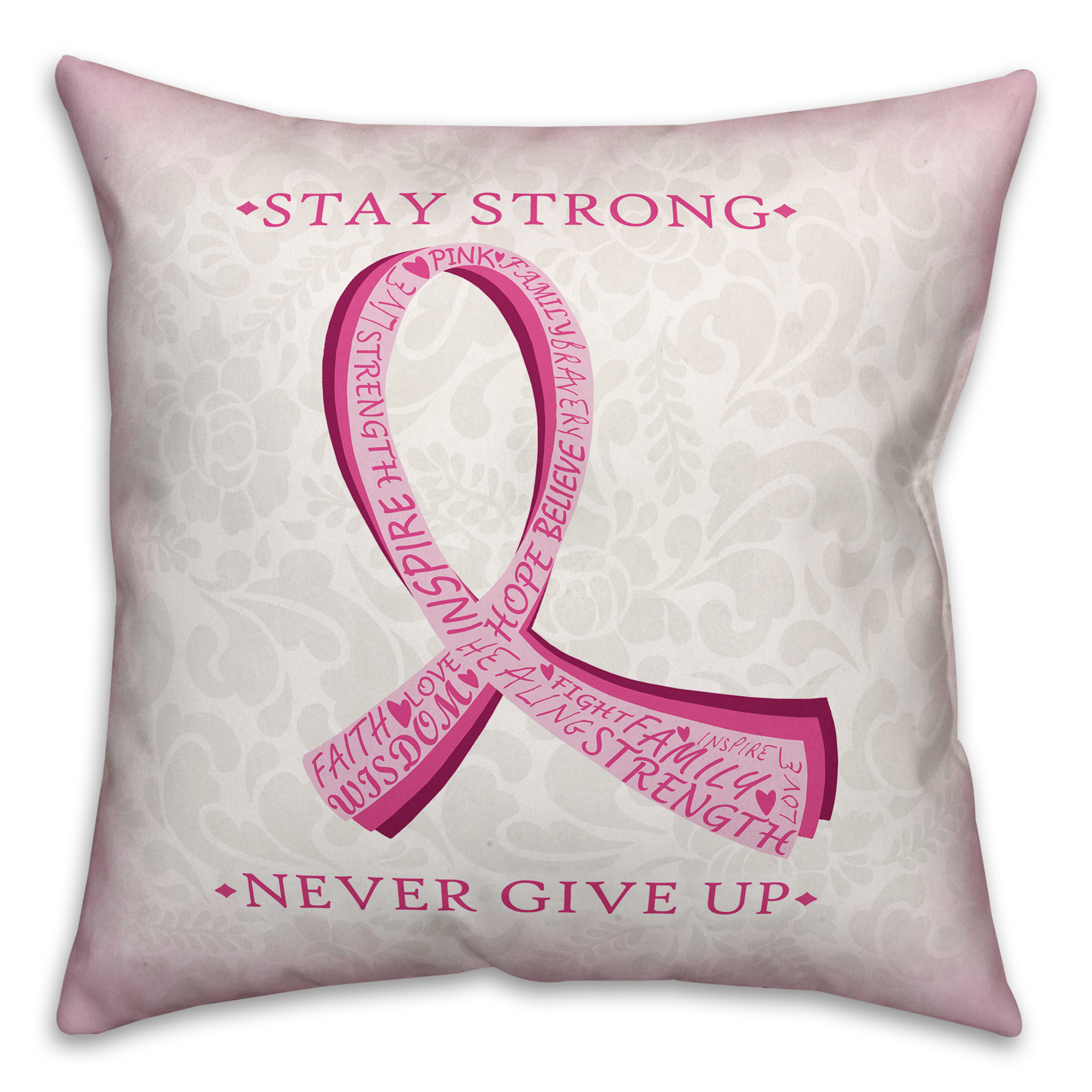 Fight Breast Cancer Stay Strong 18x18 Spun Poly Pillow